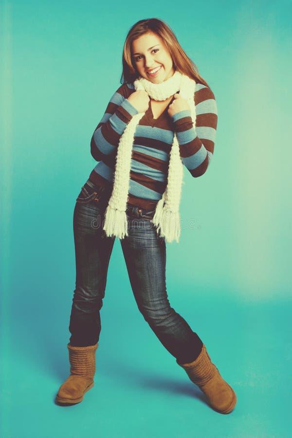 фасонируйте женщину зимы стоковое изображение rf