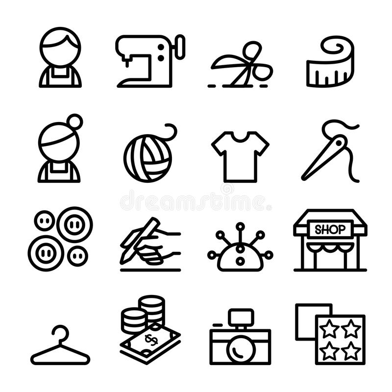 Фасонируйте дизайн, портной, Dressmaker, шить значки установленные в тонкое иллюстрация вектора