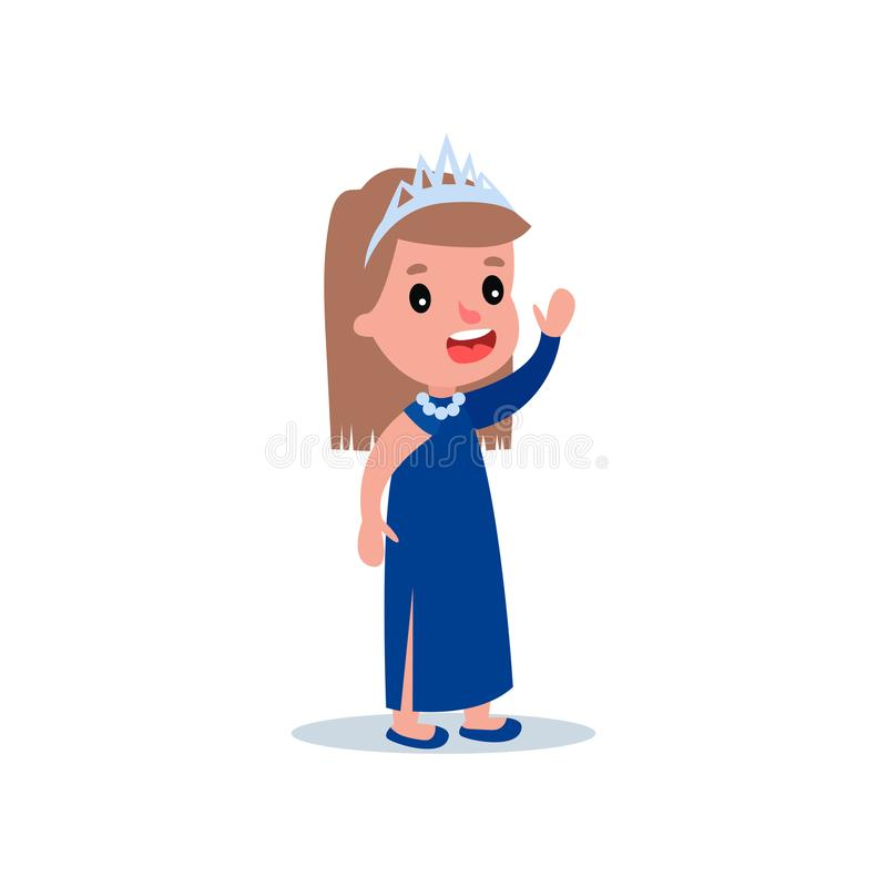 Фасонируйте модель девушки одетую в красивых длинных голубых платье и тиаре на голове Молодая дама с жизнерадостным выражением ст бесплатная иллюстрация