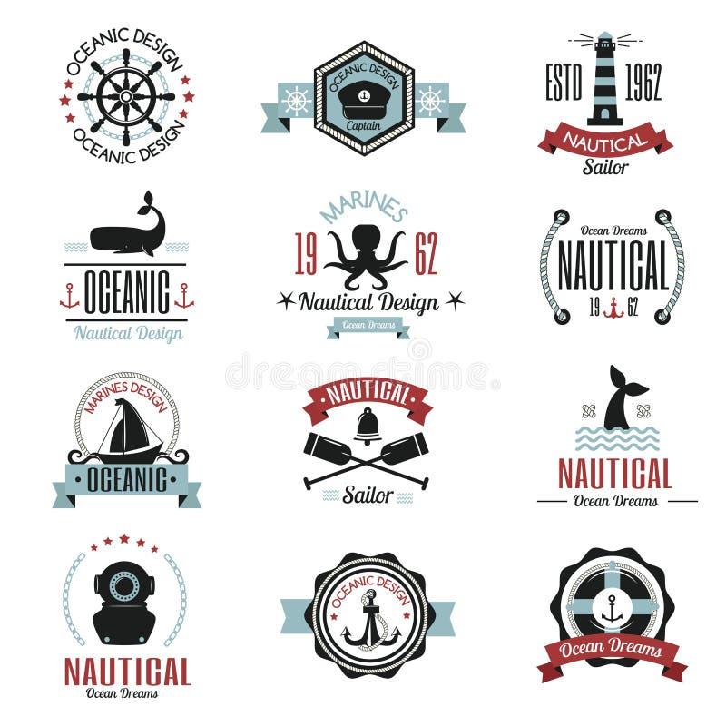 Фасонируйте морской логотип плавая тематические ярлык или значок с элементом рулевого колеса веревочки анкера знака корабля и пер иллюстрация вектора