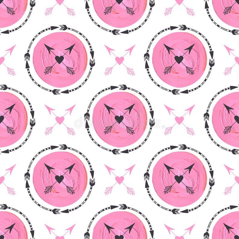 Фасонируйте предпосылку с стрелками и розовым орнаментом кругов Геометрический дизайн печати Te картины картины вектора племенной иллюстрация штока