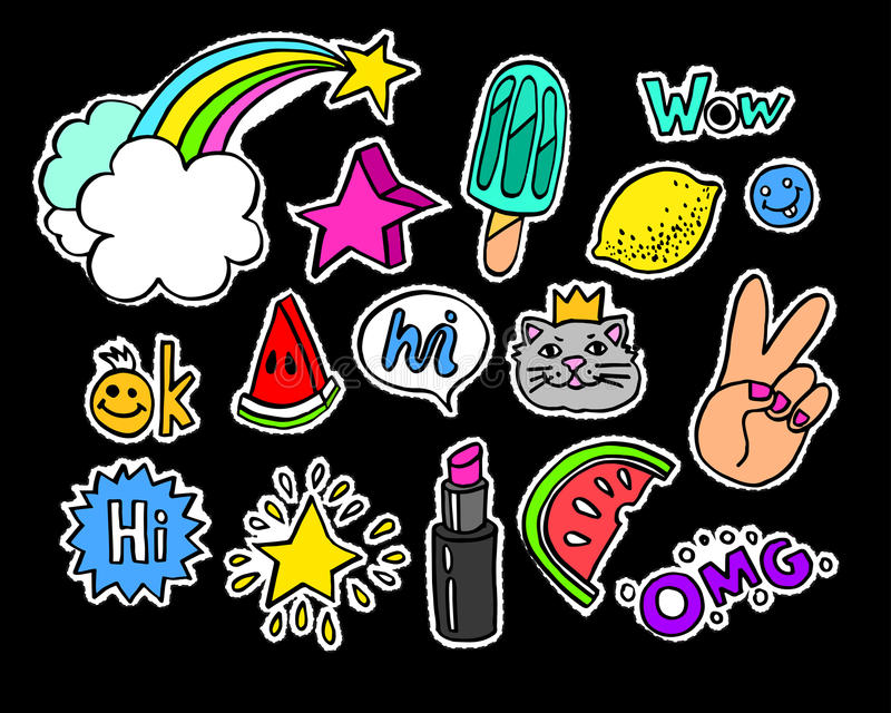 Фасонируйте современные значки или stikers заплаты шаржа doodle с пузырями речи бесплатная иллюстрация