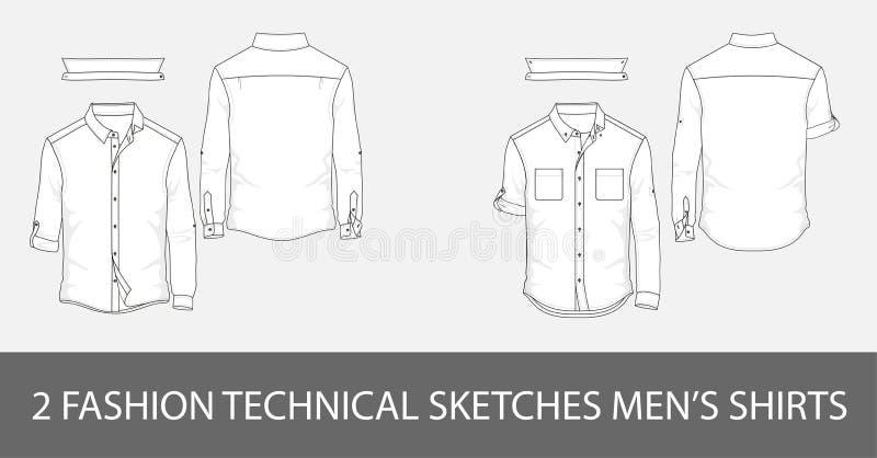 Фасонируйте техническим людям эскизов рубашки ` s с длинными рукавами иллюстрация штока