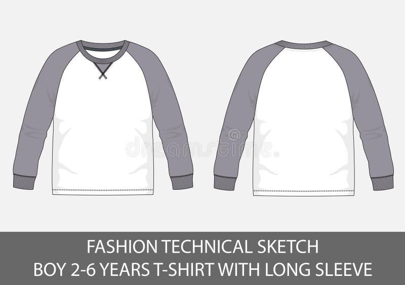 Фасонируйте техническим эскизам на мальчики 2-6 лет футболок с длинным рукавом иллюстрация штока
