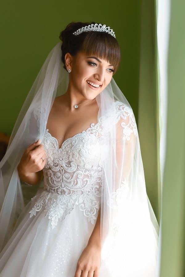 Фасонируйте фото красивой невесты с темными волосами в элегантном платье свадьбы и diadem представляя в комнате в утре свадьбы стоковое изображение