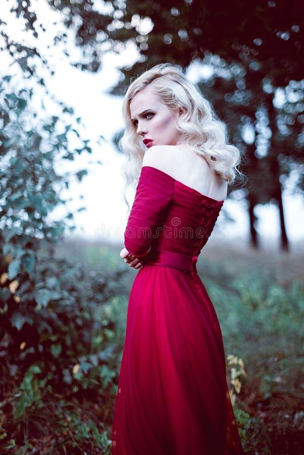 Фасонируйте шикарную молодую белокурую женщину в красивом красном платье в атмосфере волшебства леса сказки Retouched тонизируя с стоковые изображения
