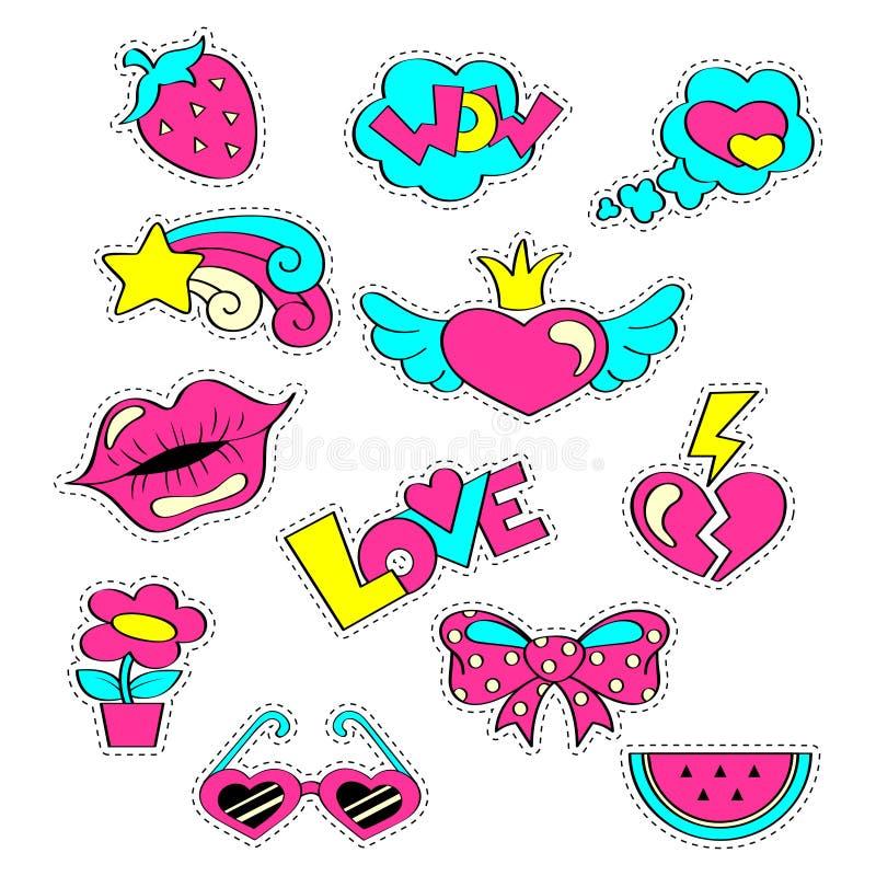 Фасонируйте girlish значки заплаты с сердцами, губами, клубникой, арбузом, солнечными очками, звездой, смычком, цветком Стикеры в иллюстрация вектора
