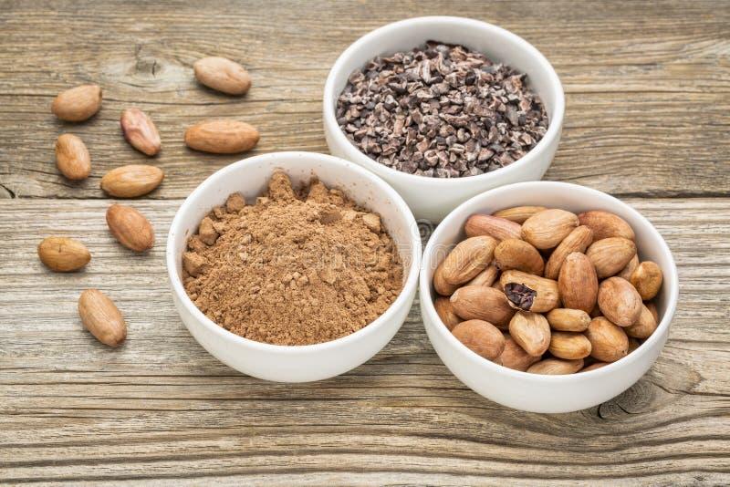 Фасоли, nibs и порошок какао стоковое изображение rf