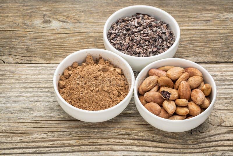 Фасоли, nibs и порошок какао стоковые фото