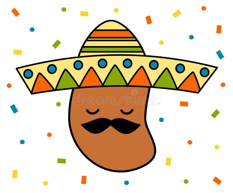 Фасоль милого шаржа мексиканская с иллюстрацией sombrero смешной красочной иллюстрация вектора