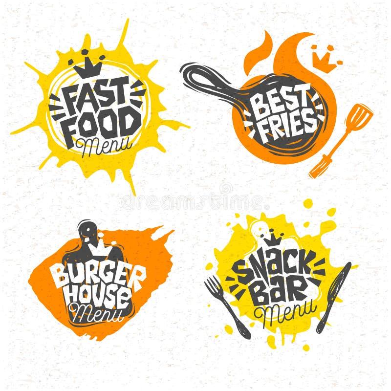 Фаст-фуд, дом бургера, самая лучшая пицца, фраи, логотип, знаки, символы, эмблемы, ярлыки, помечая буквами иллюстрация штока