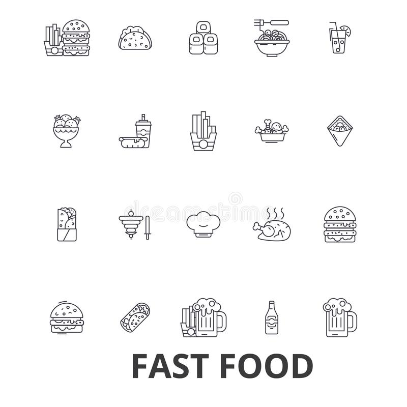 Фаст-фуд, ресторан, пицца, гамбургер, бургер, старье, хот-дог, француз жарит линию значки Editable ходы Плоский дизайн иллюстрация штока