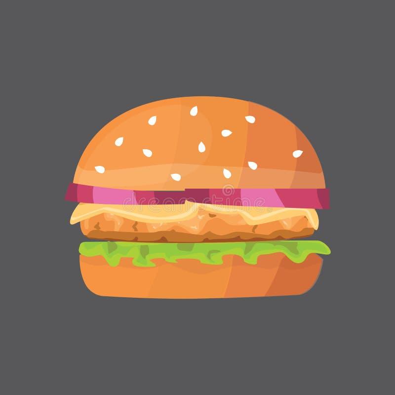 Фаст-фуд шаржа бургера иллюстрация вектора cheeseburger или гамбургера иллюстрация вектора