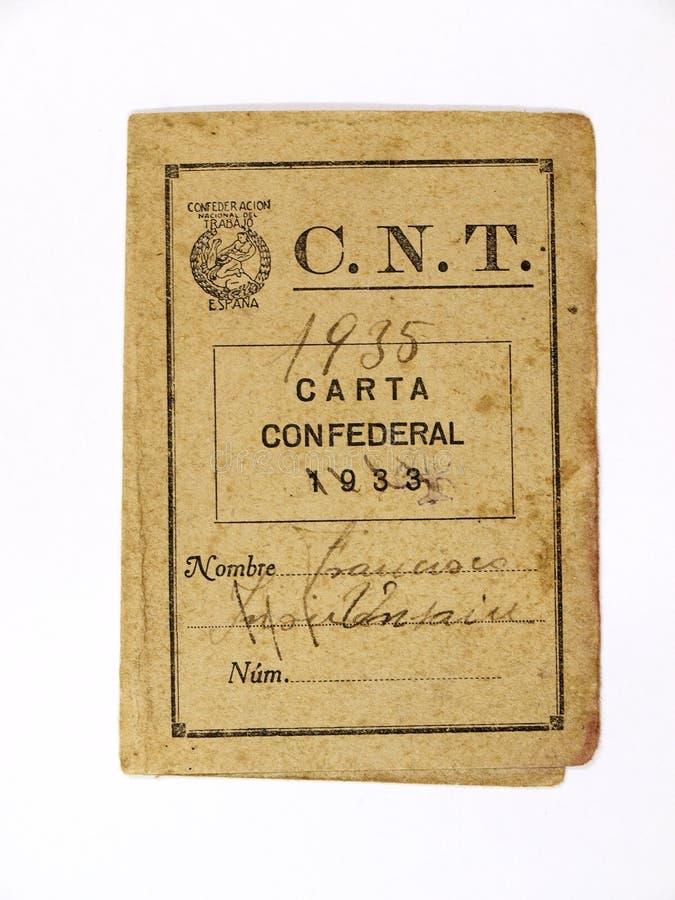 Федеральное письмо национальной конфедерации работы CNT гражданское испанское война стоковые изображения