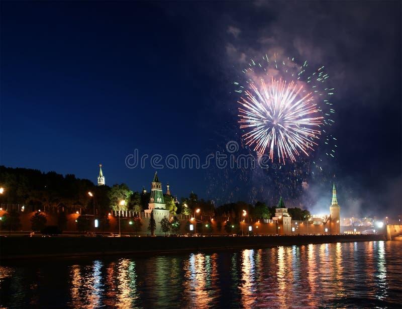 Феиэрверки над Москва Кремль. Россия стоковое фото