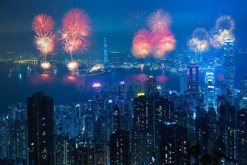 феиэрверки Hong Kong стоковое изображение