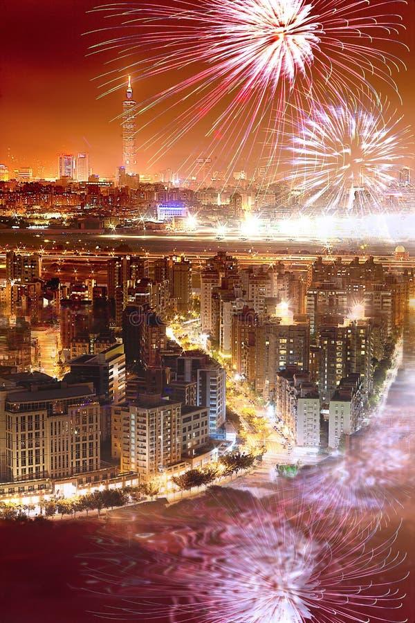 феиэрверки taipei города стоковое фото