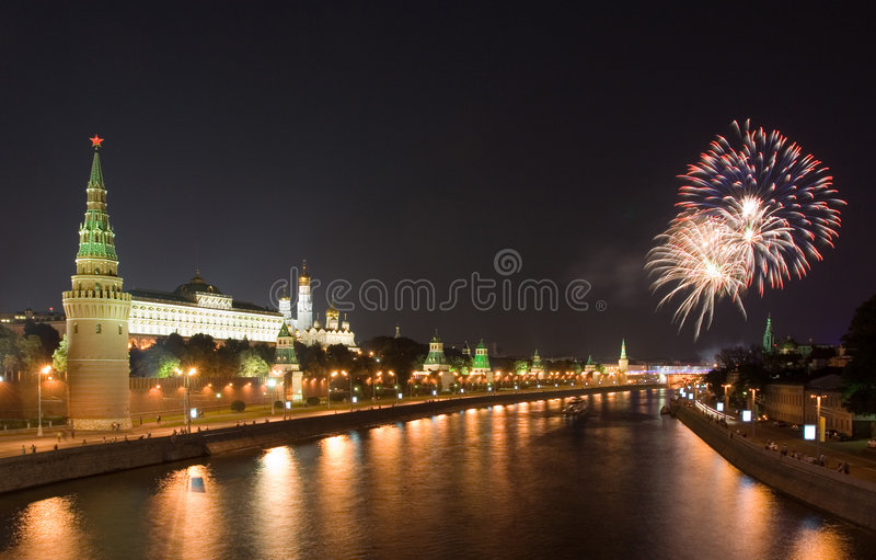 феиэрверк kremlin ближайше стоковое фото rf
