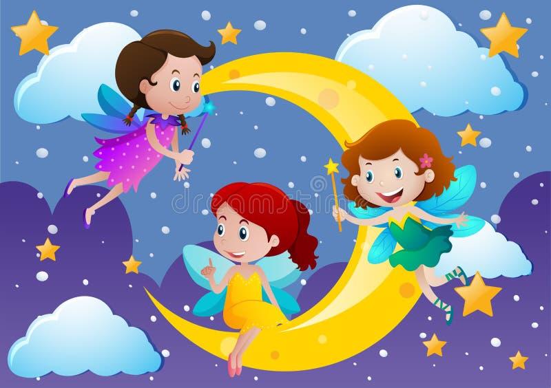 3 феи летая над луной иллюстрация вектора
