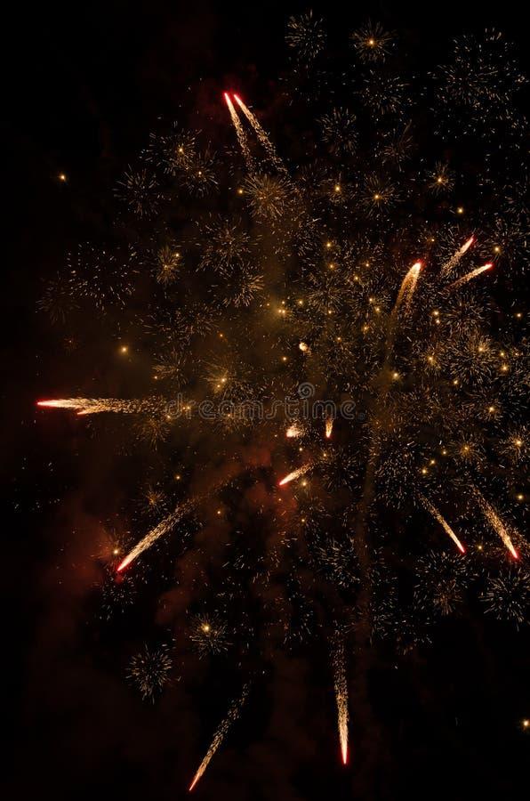 Фейерверки в небе на ноче стоковые фотографии rf
