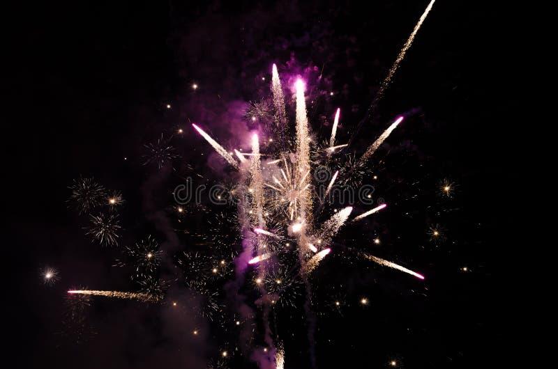Фейерверки в небе на ноче стоковые изображения rf
