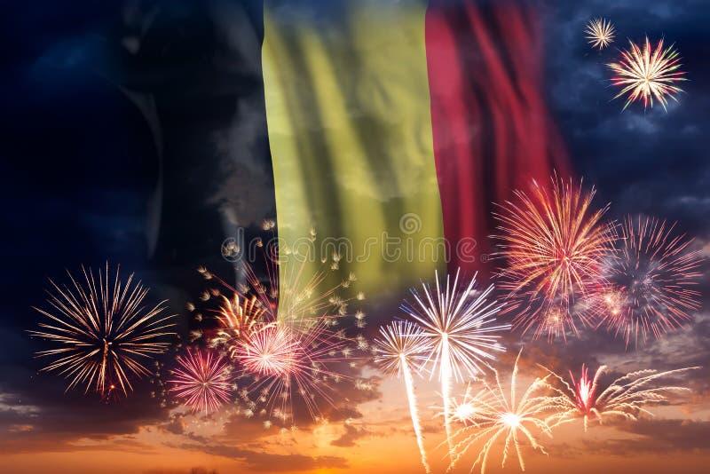 Фейерверки и флаг Бельгии стоковые фотографии rf