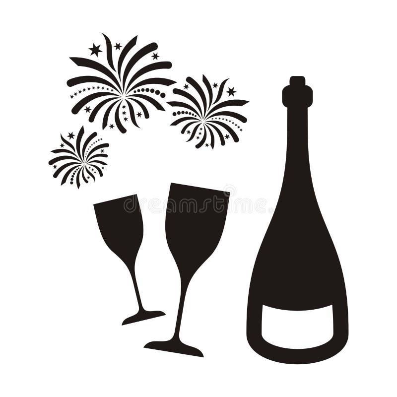 Фейерверки и шампанское Нового Года иллюстрация вектора