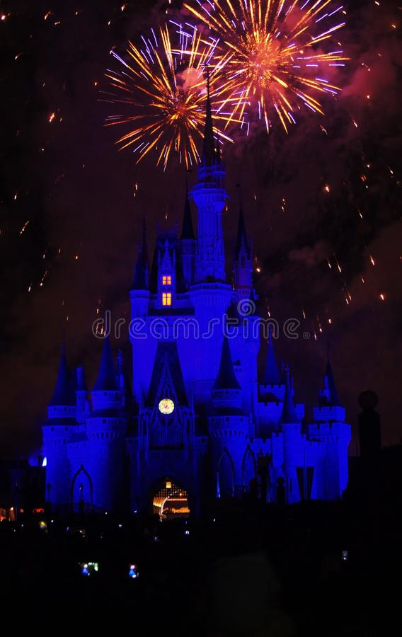 Фейерверки королевства Дисней волшебные стоковое изображение rf