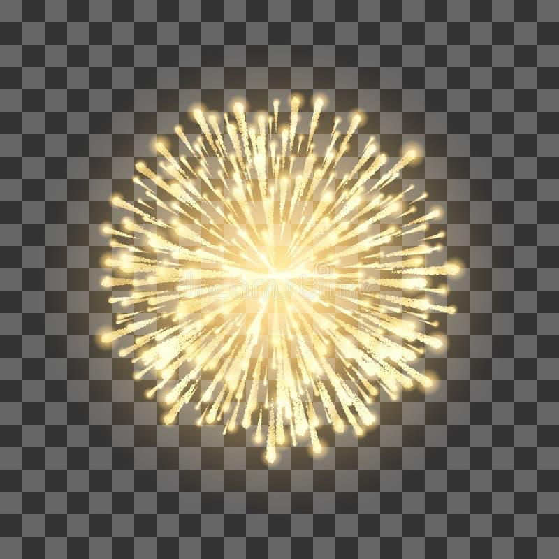 Фейерверки на прозрачной предпосылке Фейерверк золота фестиваля белизна вектора вала llustration предпосылки изолированная шаржем иллюстрация штока