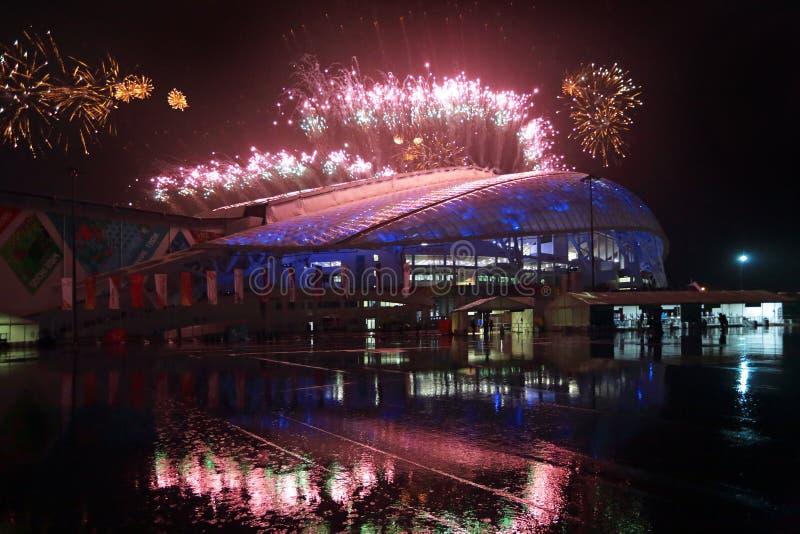 Фейерверки над рыбами стадиона стоковое изображение rf
