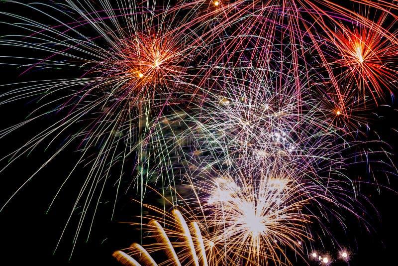 Фейерверки на стране party, последний день года стоковые фотографии rf