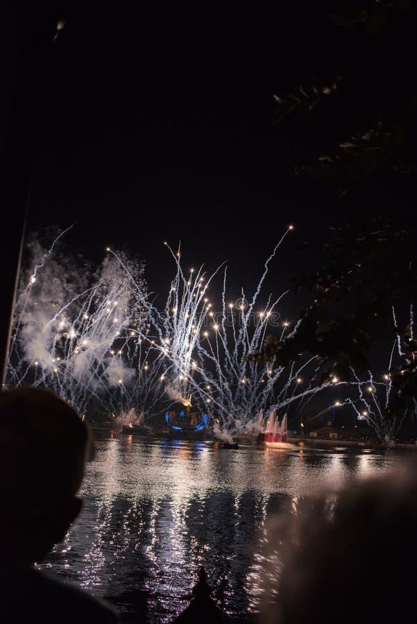 Фейерверки на Epcot на мире Уолт Дисней стоковое фото rf