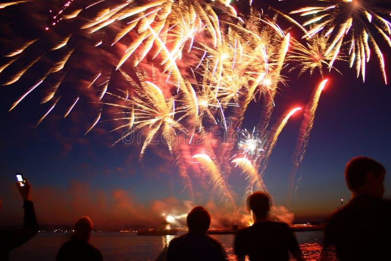 Фейерверки Нового Года надводные с отражением на черной предпосылке неба стоковое изображение rf