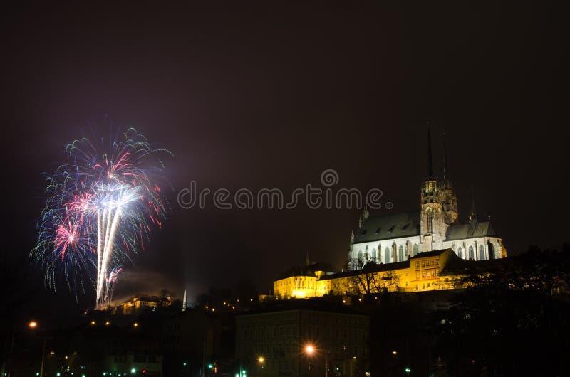 Фейерверки Нового Года в Брне стоковые фотографии rf
