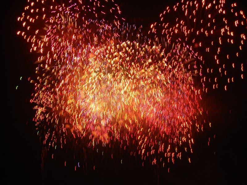 Фейерверки освещают вверх небо с ослеплять дисплеем стоковое изображение rf