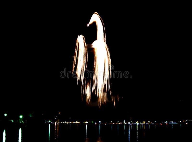 Фейерверки показывают на озере стоковая фотография