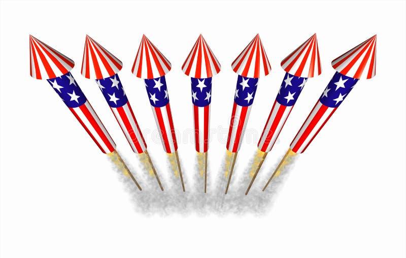 Фейерверки ракеты бутылки 4-ое июля в полете иллюстрация вектора
