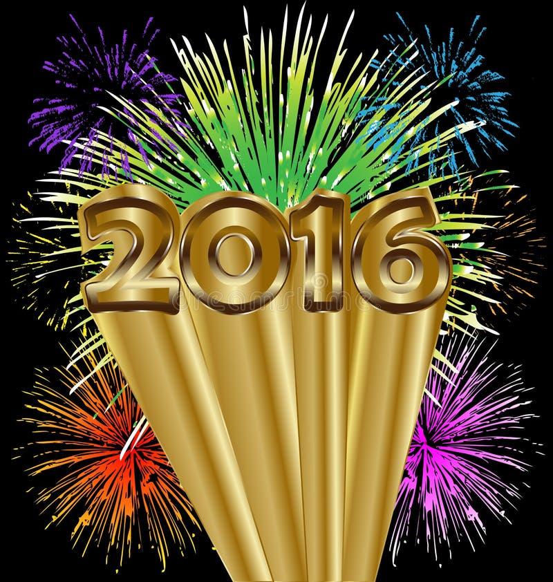 2016 фейерверков счастливого Нового Года красочных иллюстрация штока