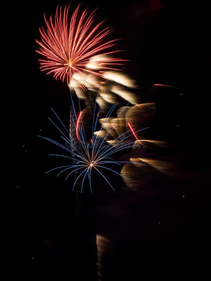 Фейерверк разрывает в ночном небе, долгой выдержке стоковые фотографии rf