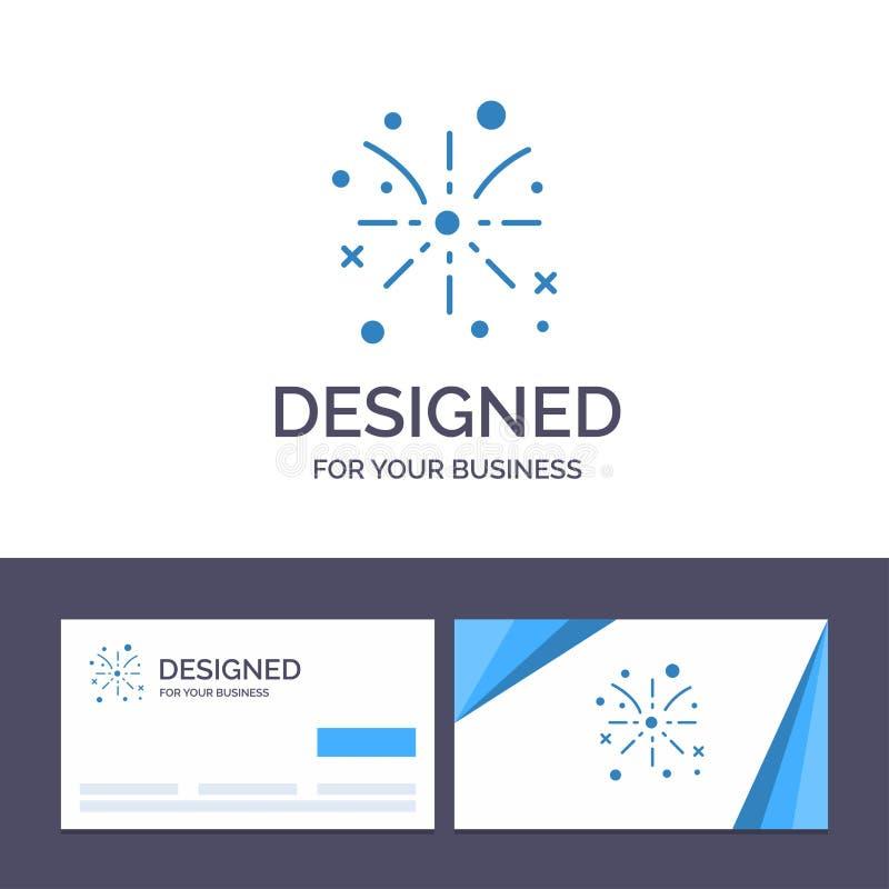 Фейерверк творческого шаблона визитной карточки и логотипа, огонь, пасха, иллюстрация вектора праздника иллюстрация штока