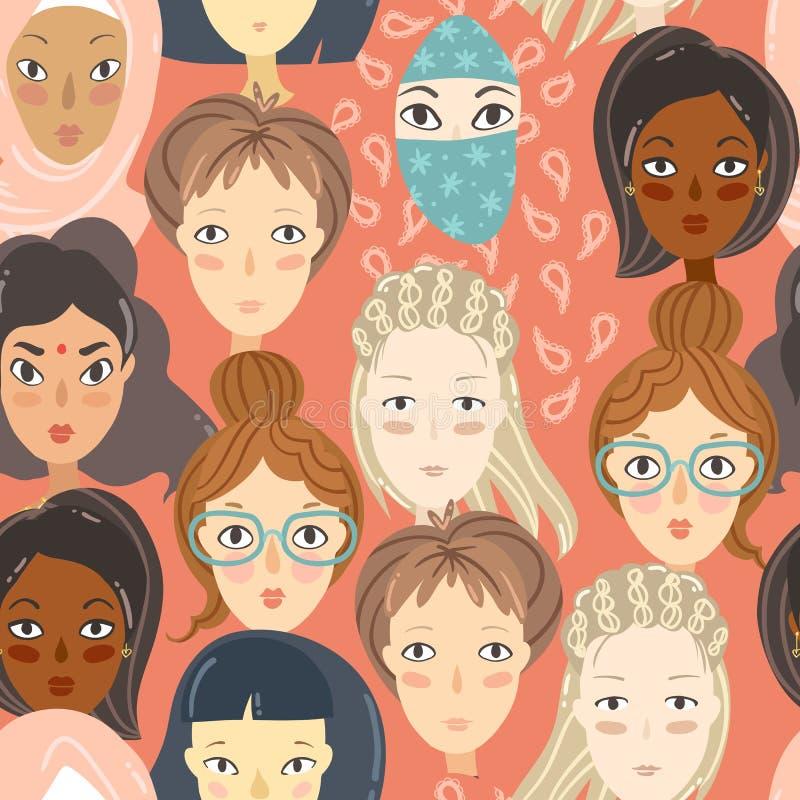 феминизм Безшовная картина с портретами женщин Различное relig бесплатная иллюстрация