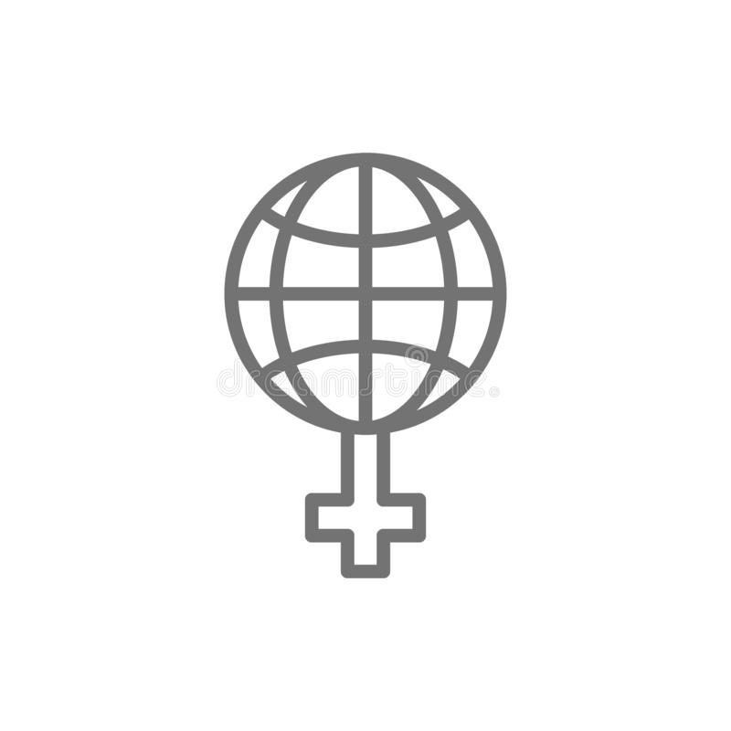 Феминизм в мире, глобус с женской линией значком знака бесплатная иллюстрация