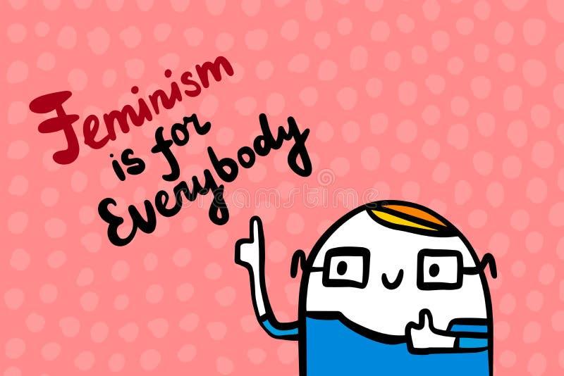 Феминизм для каждого иллюстрация вектора руки вычерченная в стиле мультфильма Человек во фразе стекел Болван иллюстрация вектора