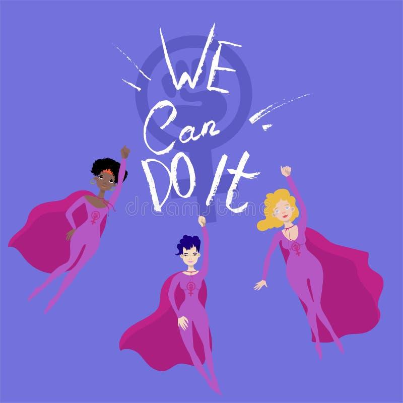 Феминист плакат с вектором 3 женским superheroines иллюстрация штока