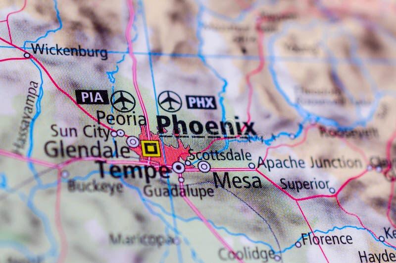 Феникс, Аризона на карте стоковое фото rf