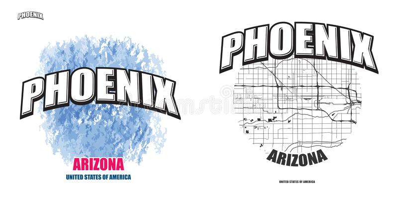 Феникс, Аризона, 2 художественного произведения логотипа иллюстрация вектора