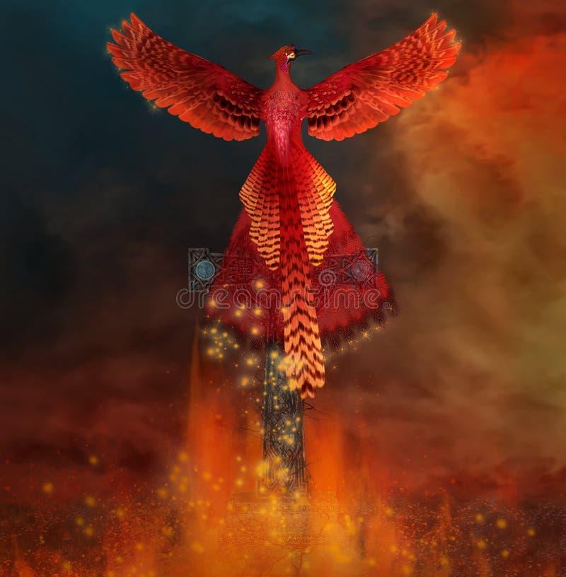 Феникс возникая от пламен бесплатная иллюстрация