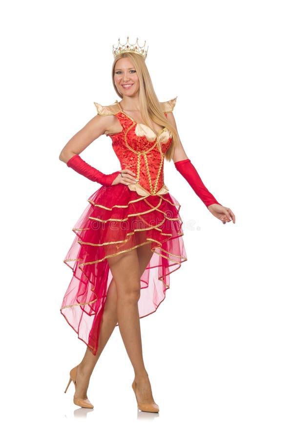 Ферзь в красном платье изолированном на белизне стоковое изображение rf