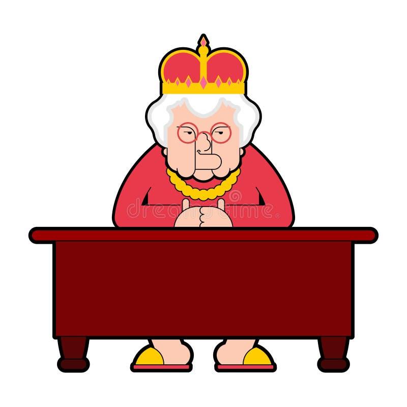 Ферзь для настольного компьютера рабочего места Пожилая женщина босса в кроне сидит на tabl бесплатная иллюстрация