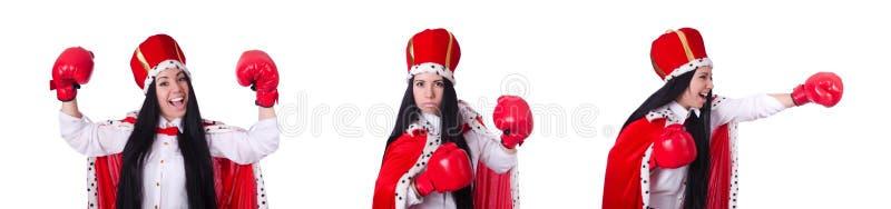 Ферзь женщины с перчатками бокса стоковое изображение rf